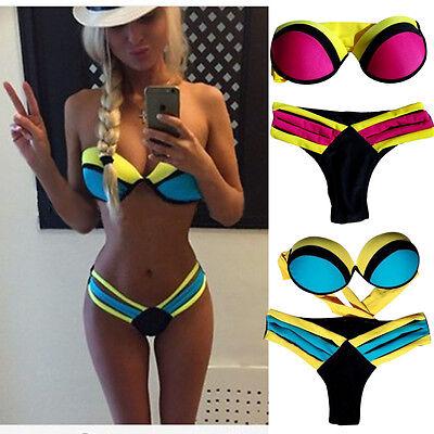 New 2016 Sexy Women Bandage Triangle Bikini Push-up Padded Bar Swimsuit Swimwear