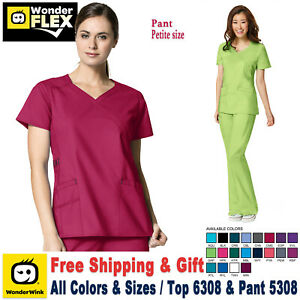 WonderWink-Scrubs-Set-FLEX-Women-039-s-Y-Neck-Top-amp-Cargo-Pant-6308-5308-Petite