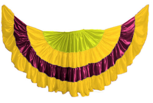 Multi Color Satin 25 Yard 4 Tier Skirt for Belly Dancing Tribal Jupe Gypsy Skirt