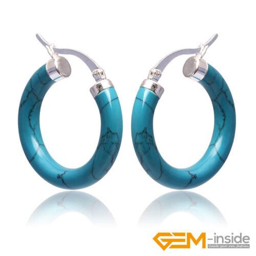 Fashion Ring incrusté de pierres précieuses Tibetan Silver Earclip Stud CALIN Boucles D/'Oreilles 30 mm