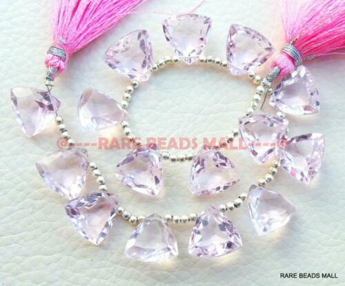 Rose Pink Quartz Faceted Cut Trillion Shape Briolettes 13 MM 5 Pairs