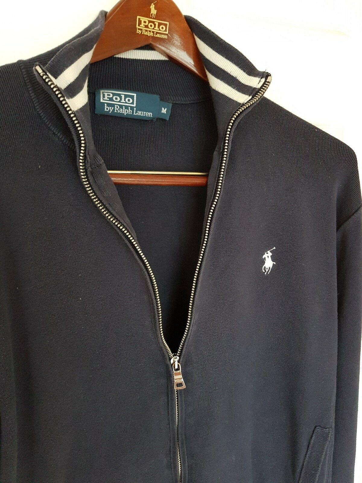 Mens POLO by RALPH LAUREN full Zip Jumper Sweater Größe medium.