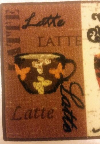 "3 COFFEE TYPES,rec KD nonskid back 18/"" x 30/"" lt PRINTED NYLON KITCHEN RUG"