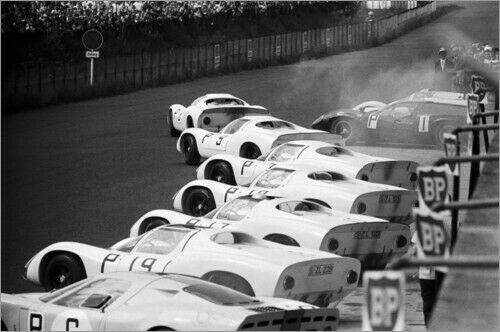 Premium-Poster Jo Siffert und Hans Herrmann Porsche 910//8 Nürburgring 1967