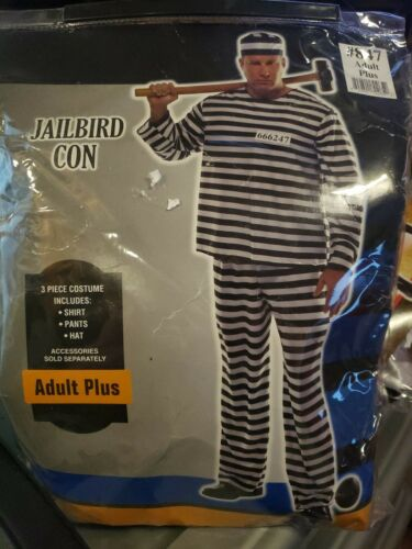 New Adults Jailbird Con Prisoner Costume - adult p
