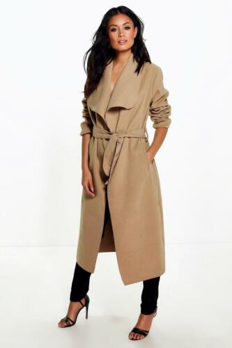 JUSTYOUROUTFIT Women Long Duster Jacket Belted Trench Waterfall Coat size-8-9590