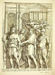 Empereur, 2 Guerriers, La Piété & L'abondance Xvii Gravure François Perrier 1645 Marchandises De Proximité