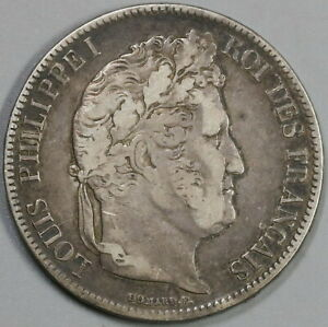 1832-M-France-5-Francs-Louis-Philippe-I-Silver-Toulouse-Scarce-Coin-19081009R