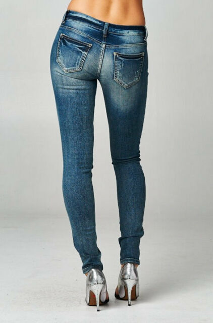 Cello Vintage Skinny Jeans light weight distressed Stretch Faded Dark Wash Denim
