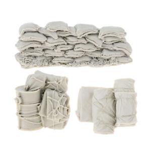 1-35-Resin-Accessories-Canvas-Bag-Sandbag-Oil-Drum-WWII-Scene-Kits-Unpainted