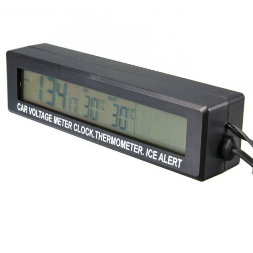 1x Car Digital Voltmeter Thermometer Clock Ice Alert Gauge Orange/&Bule Backlight