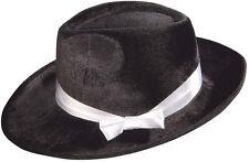 Schwarzer Mafia-Hut mit Satinband NEU - Karneval Fasching Hut Mütze Kopfbedeckun