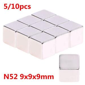 10x-Starke-Neodym-Magnete-Quader-N52-9x9x9-mm-Super-Magnet-Haltemagnete-Pinnwand