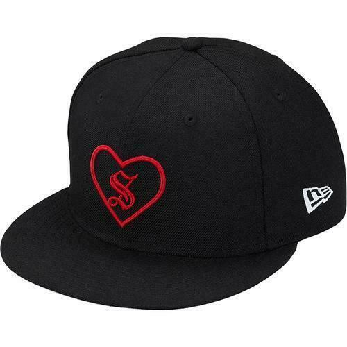 BRAND NEW SS18 SUPREME NEW ERA HEART FITTED HAT BLACK ALL SIZES