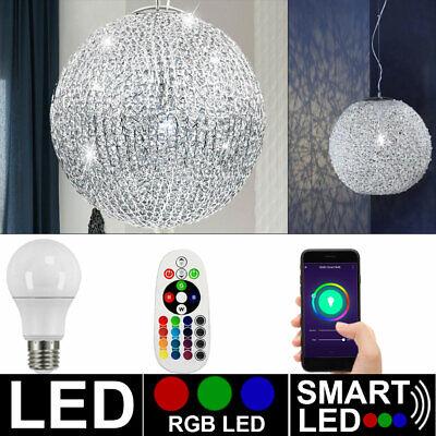 RGB LED Decken Leuchte Wohnraum Chrom Kugel Flur Lampe Dimmbar FERNBEDIENUNG