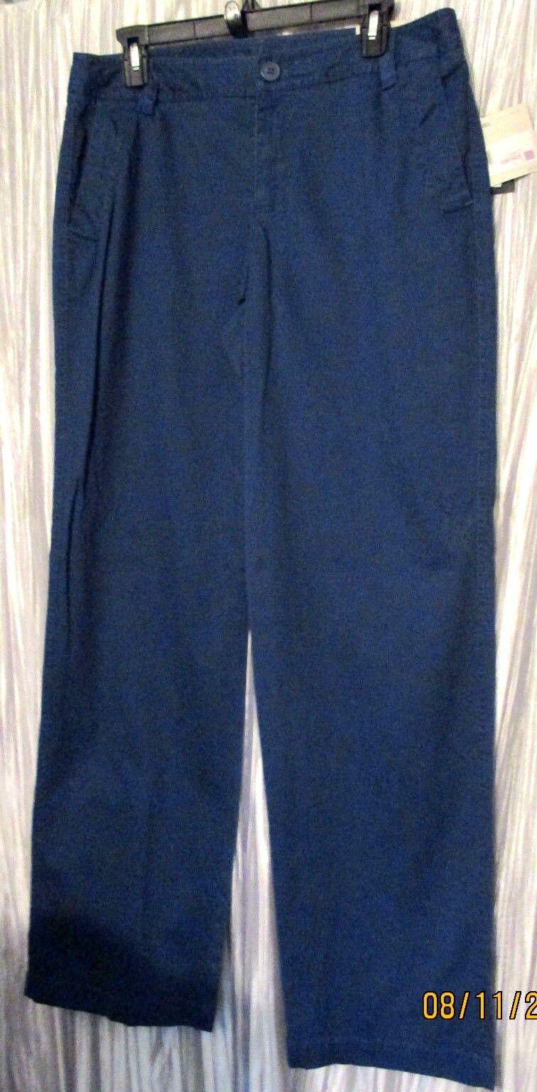 NWT  LIZ CLAIBORNE Sloane Blau Khaki, Stretch, Mid Rise, Pants, 10R
