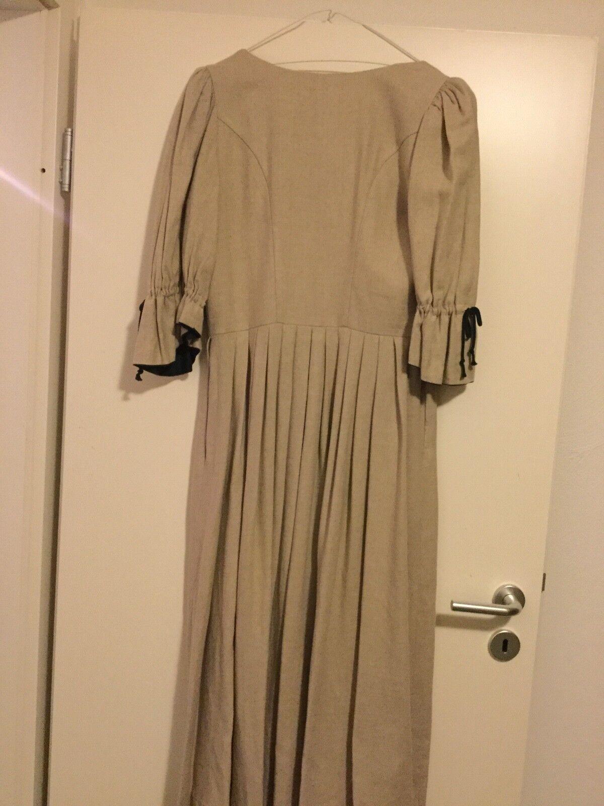 Damen Trachten Kleid Leinen Leinen Leinen grün-natur Gr. 42 v. Landhaus 63e6a4