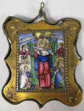 ca 1900 ANTIQUE RUSSIAN ORTHODOX CHURCH FINIFT ICON PORCELAIN MADONNA PLAQUETTE