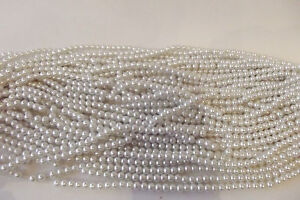JOB-LOT-of-10-Strings-Glass-Pearl-6mm-Round-Beads-95B-Soft-White