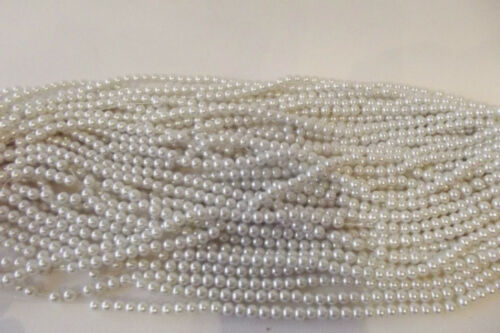 #95B Soft White 140 Pcs x Verre Perle 6 mm Perles rondes