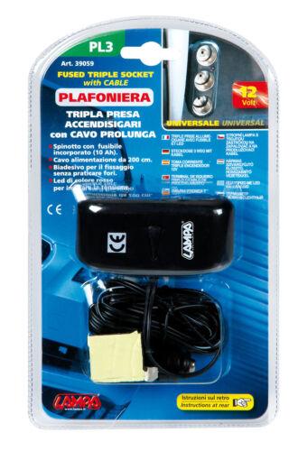 PRESA CORRENTE TRIPLA CON PROLUNGA 12//24V LAMPA
