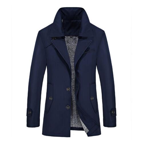 2019 Mens Fleece Warm Outerwear Business Jacket Coat Windbreaker Trench Oversize