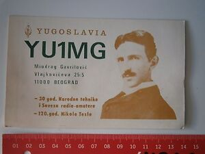 NIKOLA TESLA YUGOSLAVIA RADIO AMATEURS YU1MG DOCUMENT CARD AWARD NOTE,CONNECTION