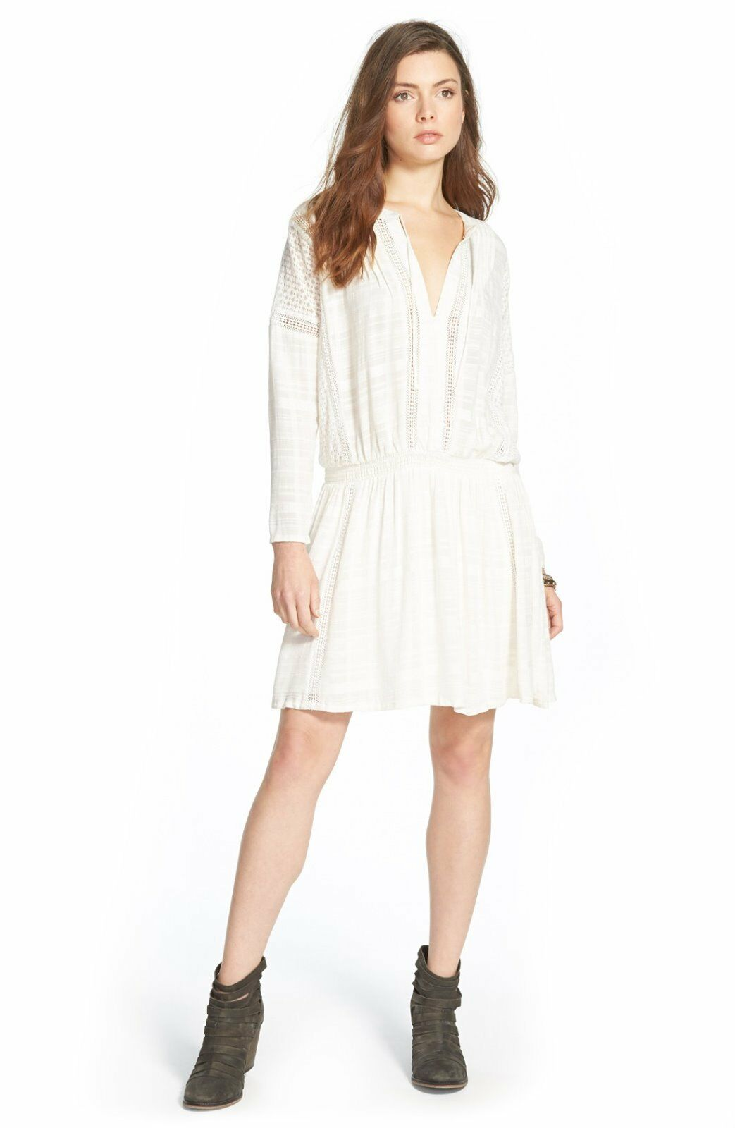 FREE PEOPLE Woherren New Weiß 'NOMAD' Peasant Boho Pintucked above Knee Dress M
