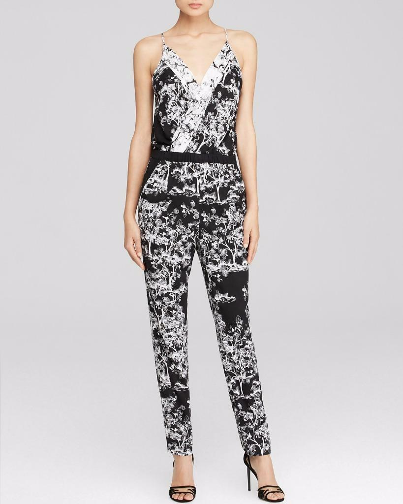 DVF Diane Von Furstenberg SHANY 2 Floral Silk Jumpsuit Jumper Toile Meadow  468