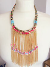 Handmade Gold tassel Fringe Drape Gypsy Hippy Bohemian Aztec Tribal Necklace