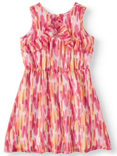 Wonder Nation Girls Lurex Chiffon Print Dress Size Large Coral Punch 10-12