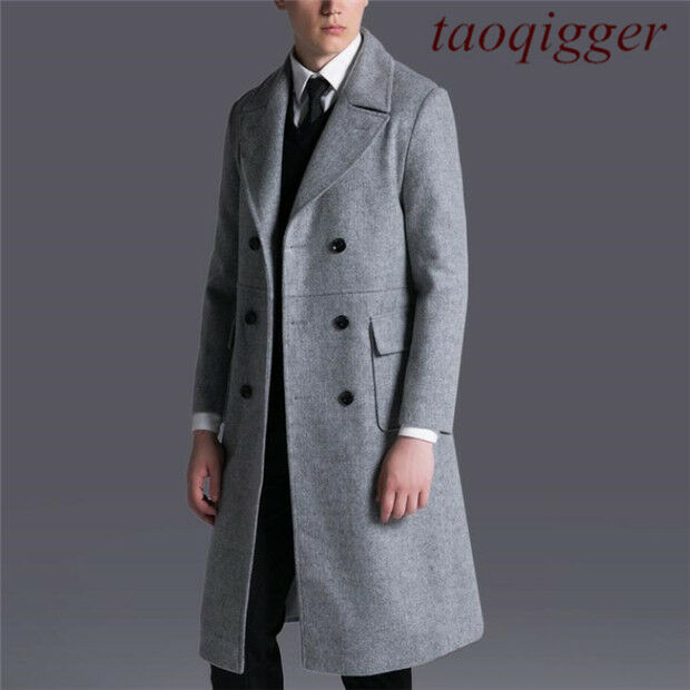 Mens England gentleman Wool Cashmere Double-breasted Formal Dress Trench Coat U