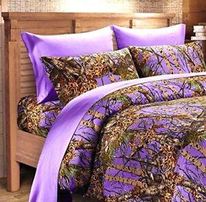Purple Camo Sheet Set King Size Bedding 6 Pc Camouflage