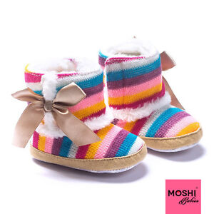 Knitted-Rainbow-baby-toddler-winter-boots-with-golden-bow-by-Moshi-Babies