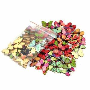 50Pcs-2-Holes-Mixed-Butterfly-Wooden-Sewing-Mend-Scrapbooking-Art-DIY-Buttons