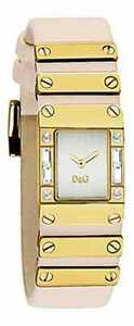 NEW D&G DOLCE GABBANA PINK BLOSSOM LEATHER+GOLD METAL STRAP WATCH-DW0349