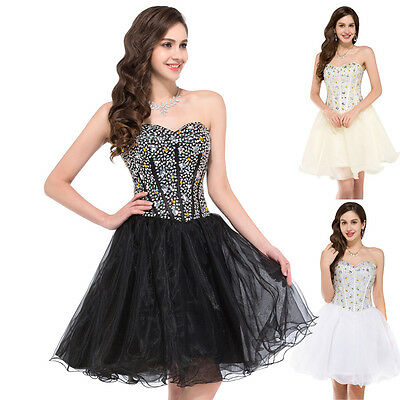 BEADED Dress Homecoming Mini Evening Gown Party Bridesmaid Short PROM Dresses