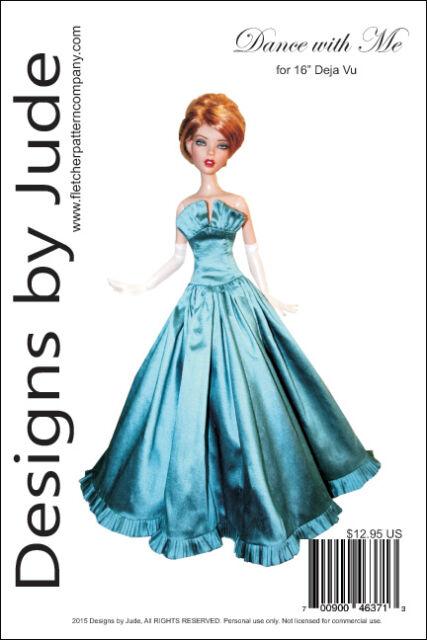 "Waterfall Dress Doll Clothes Sewing Pattern for 16/"" Deja Vu Tonner"