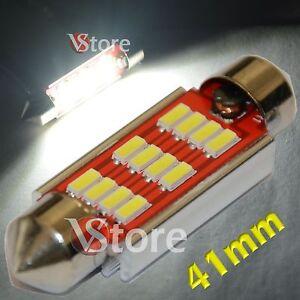 2-LED-Festoon-41mm-12SMD-4014-Canbus-Lampade-Luci-BIANCO-Interno-Targa-Auto-Xeno