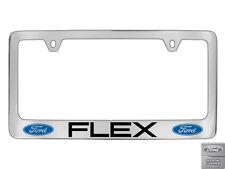 Ford Flex 2 logos Chrome Plated Brass Metal License Plate Frame Holder