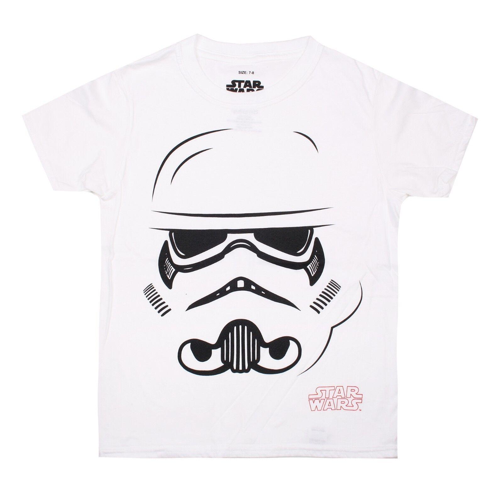 AGE 5-6 Star Wars Kids Boys Girls T-Shirt Storm Trooper Face Helmet White