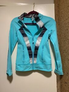 Ivviva-Lululemon-Girls-Zip-Up-Athletic-Jacket-Size-12-Blue-white-black
