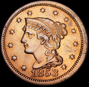 1853-Braided-Hair-Large-Cent-Type-Penny-STUNNING-DETAILS-C285