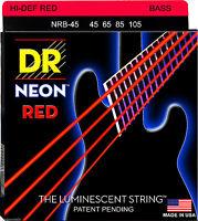 Dr Nrb-45 Neon Hidef Red Coated Bass Strings, Medium Gauge 4's - 45-105