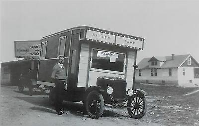 """12 By 18"""" Black & White Picture Ford about 1925 """"barber shop on wheels"""""""
