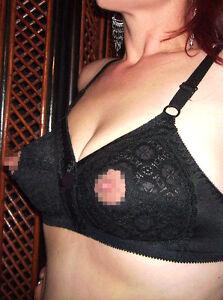 crotchless nipple bra vintage nipple-free black open bra circular