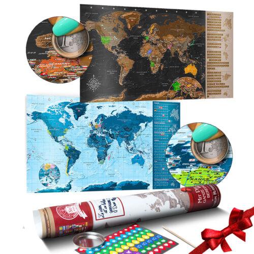 Rubbel Weltkarte zum rubbeln Landkarte Rubbelkarte Fahnen laminiert scratch off