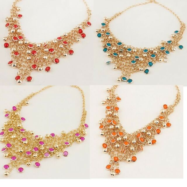 New Arrive Hot Lady's Gold Plated Fashion Unique Noble Bead Bib Necklace  A1510b