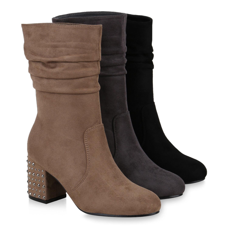 Damen Klassische Stiefel Nieten Blockabsatz Wildlederoptik 819199 Schuhe