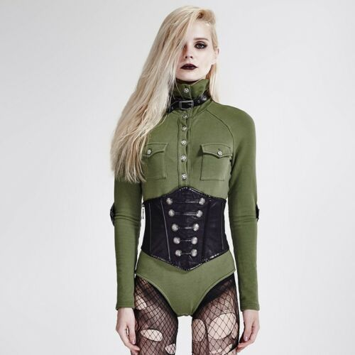 Punk Rave Siam Corset Military Green Long Sleeve Top Special Order Gothic,Go